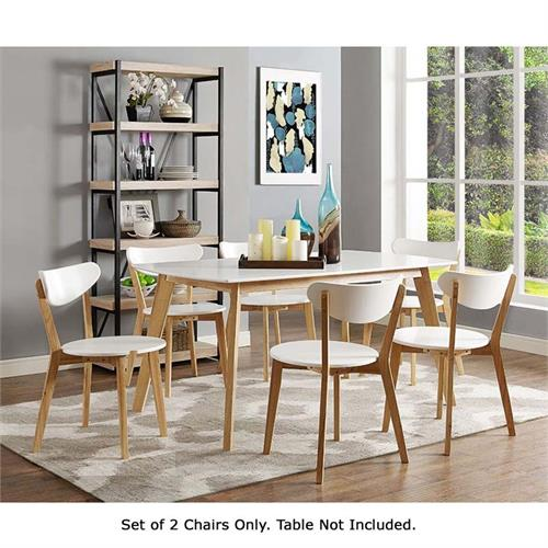 View a large image of the Walker Edison Retro Modern Wood Dining Chairs White and Natural Brown CHWRM2WNL here.