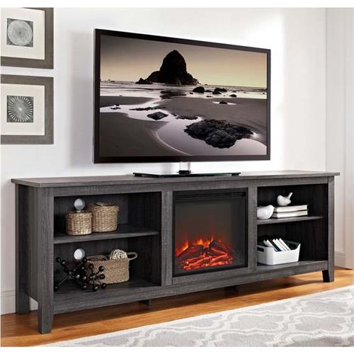 View a large image of the Walker Edison 70 inch TV Stand with Electric Fireplace Charcoal W70FP18CL here.