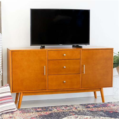 View a large image of the Walker Edison Mid Century Modern 60 inch TV Stand Acorn W60CMCAC here.