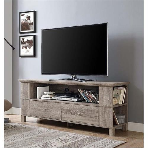 View a large image of the Walker Edison 65 inch TV Stand with Multimedia Storage Driftwood P60CMPAG here.