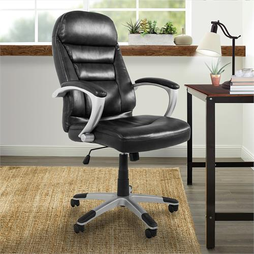 View a larger image of the Living Essentials Isaac Bonded Leather Executive Chair (Black) COLBK0575 here.
