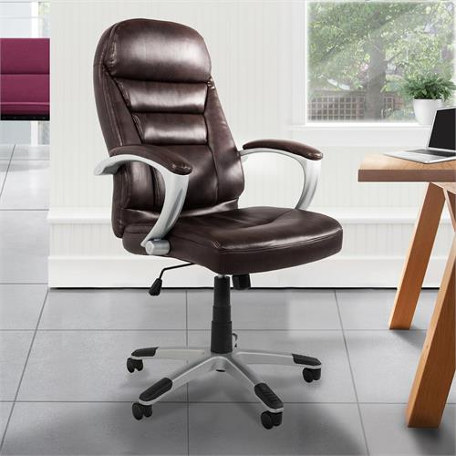 View larger image of the Living Essentials Isaac Bonded Leather Executive Chair (Brown) COLBR0575 here.