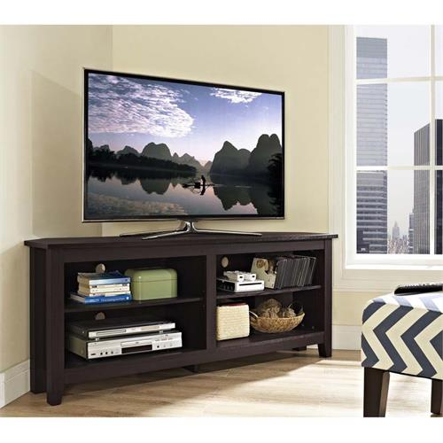 View a large image of the Walker Edison Essentials 60 inch Corner TV Stand Espresso W58CCRES here.