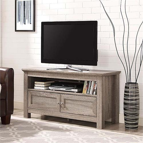 View a large image of the Walker Edison 48 inch TV Stand with Soundbar Shelf Driftwood W44CSAG here.