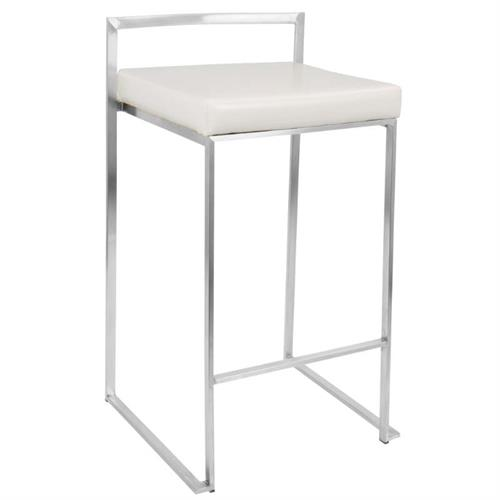 View a large image of the LumiSource Pair of 2 Stacking Fuji Counter Stools White CS-FUJI W2 here.