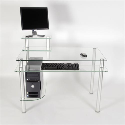 View a larger image of the RTA Modern Glass Computer Desk (Silver) CT-009S.