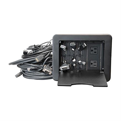 View a large image of the Audio Visual Furniture - VFI Table Top Cable Well Black CUB8 here.
