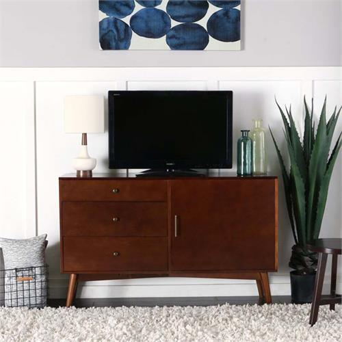 View a large image of the Walker Edison AH52CMCWT Angelo Home 52 inch Mid-Century TV Cabinet in Walnut here.