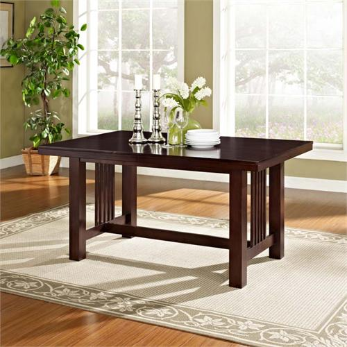 View a large image of the Walker Edison Dining Table with Removable Center Leaf Cappuccino TW60MCNO here.