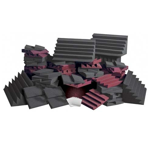 View a large image of the Auralex Acoustics Expanded Designer Series Roominators Sound Control Kit Burgundy and Charcoal D108LBUR here.