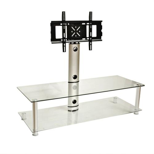 View a large image of the Design 2 Fit Clear Glass TV Stand with Bracket for up to 55 inch Screens D2F-105 here.