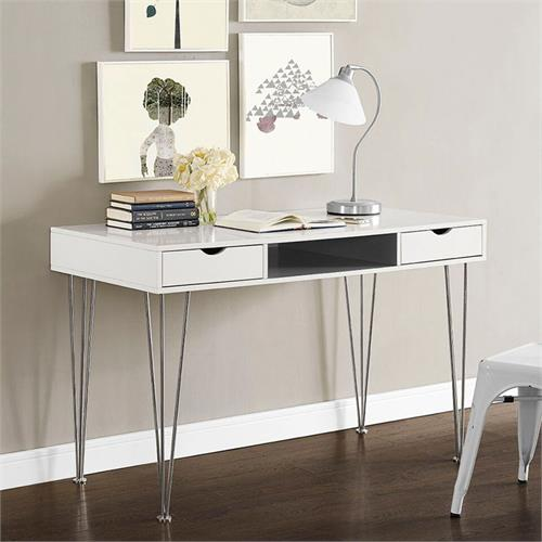 View a large image of the Walker Edison D48CA1GR Grey Color Accent Desk here.