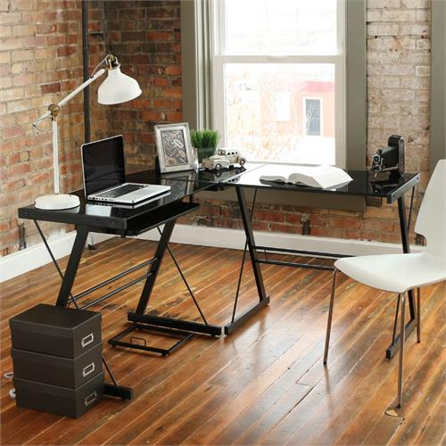 View a large image of the Walker Edison 3 Piece Soreno Desk Black with Black Glass D51B29 here.