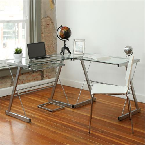 View a large image of the Walker Edison 3 Piece Contemporary Desk Silver with Clear Glass D51L29 here.