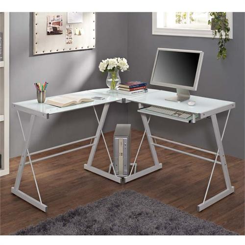 View a large image of the Walker Edison Soreno L-Shaped Glass Computer Desk White with Frosted Glass D51W29 here.