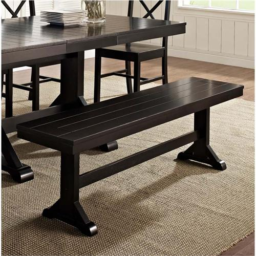 View a large image of the Walker Edison Wood Dining Bench Antique Black DBW1BL here.