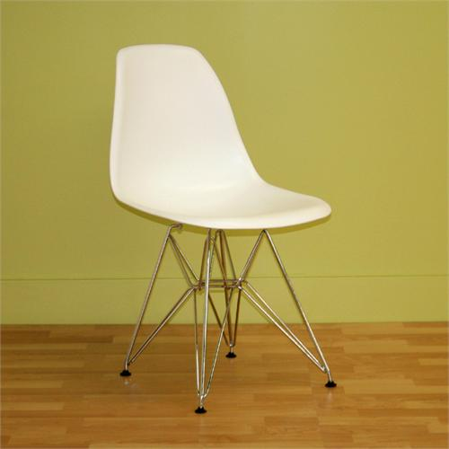 View a large image of the Wholesale Interiors Set of Two White and Chromed Steel Side Chairs White DC-231-WHITE here.