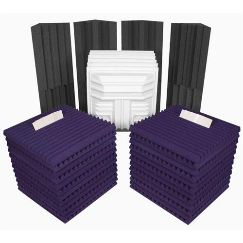 View a larger image of Auralex Acoustics Deluxe Plus Roominator Sound Control Kit (Purple and Charcoal) ROOMDLXPLUSPUR.