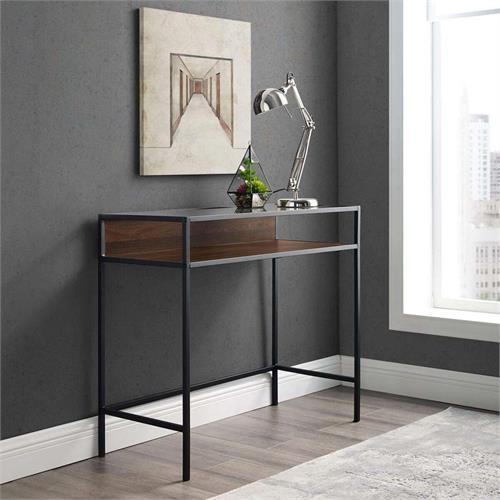 View a large image of the Walker Edison Urban Industrial Desk Walnut and Clear Glass DM35JERDW here.