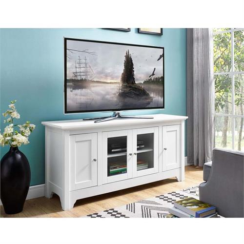Walker Edison Wood And Glass 55 Inch Tv Cabinet White