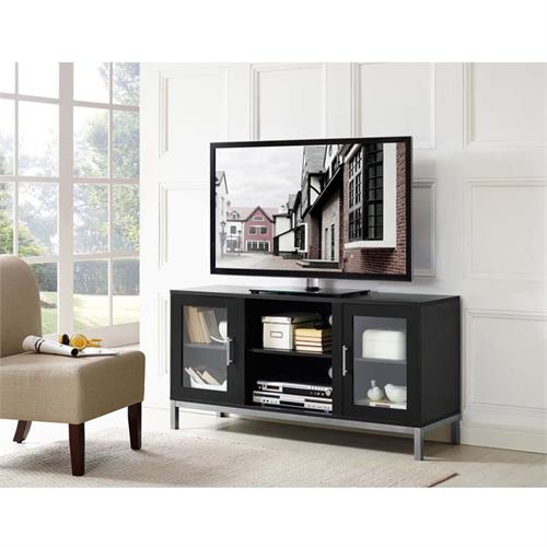 View a large image of the Walker Edison Avenue Wood TV Console Black W52AV2DSB here.