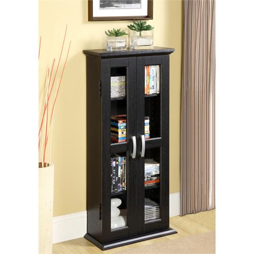 View a large image of the Walker Edison DT41BL Black Wood Media Tower Cabinet here.