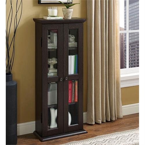 View a large image of the Walker Edison DT41ES Espresso Wood Media Tower Cabinet here.