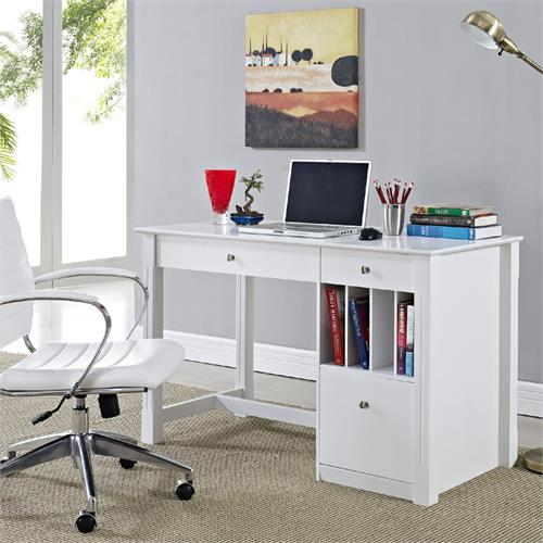 View a large image of the Walker Edison Home Office Writing Desk with Storage White DW48D30WH here.