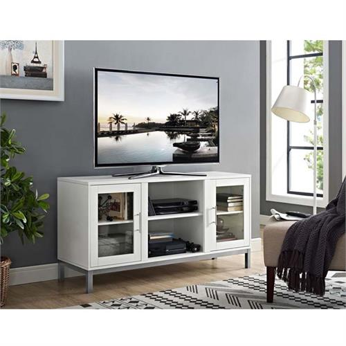 View a large image of the Walker Edison Avenue Wood TV Console White W52AV2DWH here.