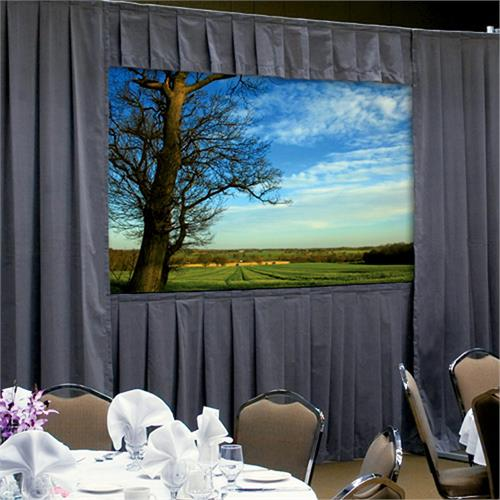 View a larger image of the Da-Lite 36528KGRP Fast-Fold Deluxe Drapery Kit (BLK HW, Gray Drapes, 4:3, 10-6x14, 210 Inch).
