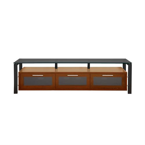View a large image of the Plateau TV Stand for 50-71 in. TVs Walnut Black Glass Black Frame Decor 71 W-B-BG here.