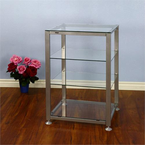 View a large image of the VTI EGR Series 4 Shelf Audio Rack with Glass Shelves Silver EGR404S here.