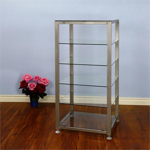 View a large image of the VTI EGR 6 Shelf Audio Rack with Glass Shelves Silver EGR406S here.
