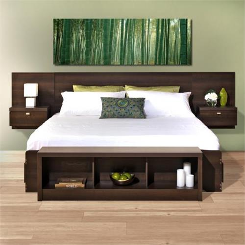 View a large image of the Prepac Series 9 Designer Floating Wall Mounted King Headboard with 2 Nightstands Espresso EHHK-0520-2K here.