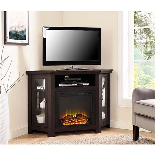 View a large image of the Walker Edison Corner Fireplace TV Stand for 50 inch Screens Espresso W48FPCRES here.