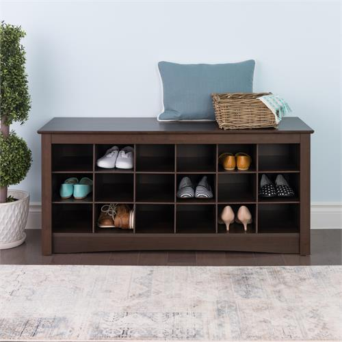 View a large image of the Prepac Entryway Shoe Storage Cubbie Bench Espresso ESS-4824 here.