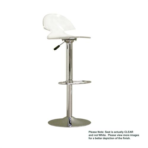 View a large image of the Wholesale Interiors Adjustable Swivel Bar Stool Clear FAY-509-CLEAR here.
