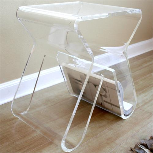 View a larger image of the Wholesale Interiors Acrylic Clear End Table with Magazine Rack (Clear) FAY-8196-CLEAR.