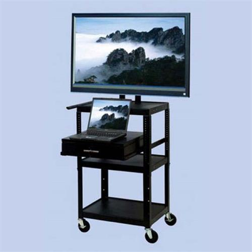 View a large image of the VTI Adjustable Height TV Cart with 32 inch TV Mount and Drawer FDC4226E here.