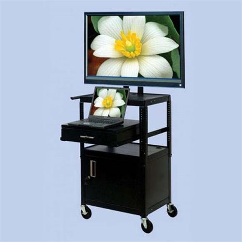 View a large image of the VTI Adjustable Height TV Cart with 37 inch TV Mount and Cabinet and Drawer FDCAB4226E here.