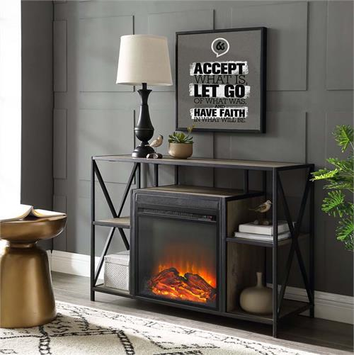 View a large image of the Walker Edison Urban Industrial X Fireplace TV Stand Grey W40FPXFJGW here.