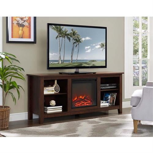 View a large image of the Walker Edison 60 inch TV Stand with Fireplace Insert Brown W58FP18TB here.