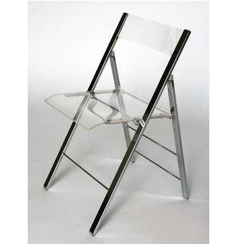 View a large image of the Wholesale Interiors Set of Two Clear Acrylic Folding Side Chairs Clear Fay-506-CLEAR here.