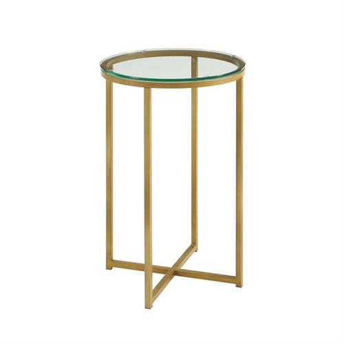 View a large image of the Walker Edison Clear Glass Side Table Gold AF16ALSTGGD here.