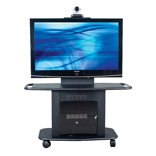 View a large image of the AVTEQ Corporate Series Rack Mount Multimedia Cart for 42-52 inch Single Screens Black GMP-200M-TT1 here.
