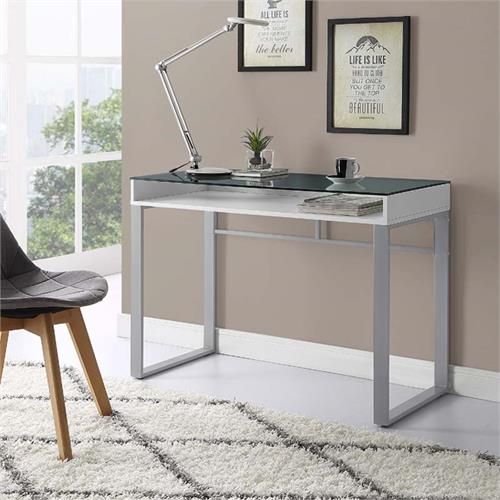 View a large image of the Walker Edison Urban Industrial Glass Top Desk White and Grey DM42CHMGWH here.