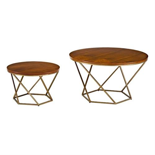 View a large image of the Walker Edison Geometric Nesting Coffee Tables Walnut and Gold AF28CLRGWGD here.