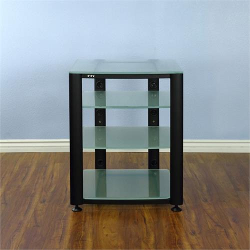 View a large image of the VTI 4 Shelf Audio Video Rack Black with Frosted Glass HGR404BF here.