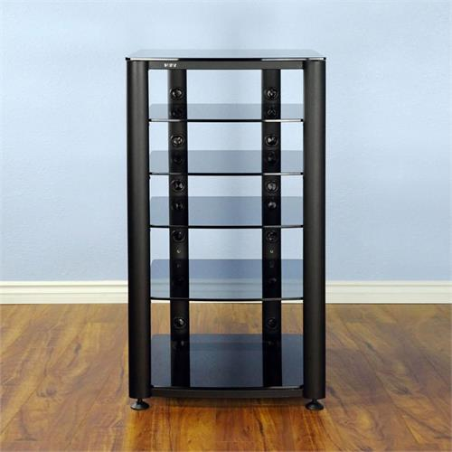 View a large image of the VTI 6 Shelf Audio Video Rack Black Frame with Black Glass HGR406BB here.