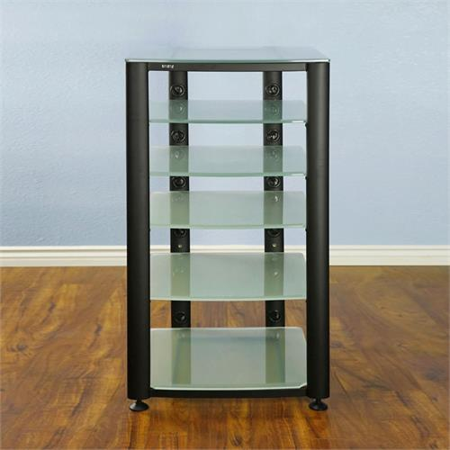 View a large image of the VTI 6 Shelf Audio Video Rack Black with Frosted Glass HGR406BF here.